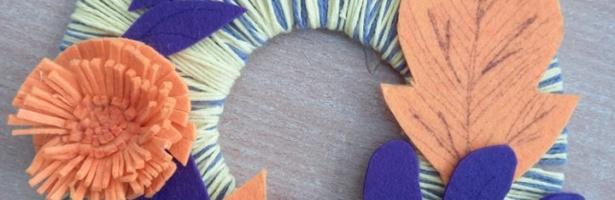 Осінні композиції від учнів 5 класу створені із ниток та фетру